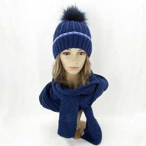 zimowy-komplet-damski-czapka-z-pomponem-szalik-granatowy-aml