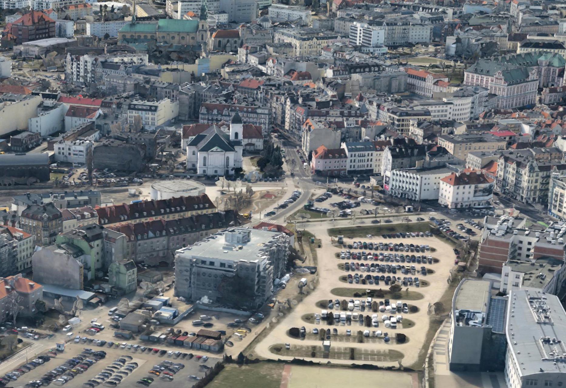Stare koryto Warty rozdziela Chwaliszewo (z lewej) od Starego Miasta. Trójwymiarowy model Poznania, 2015. Źródło: Google Earth
