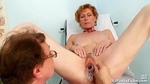 Czech Granny Got A Big, Black Dildo Inside Her Wet Pussy While Visiting Her Gynecologist