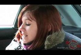 Bitch STOP – Red haired teen hitchhiker Monca fucked