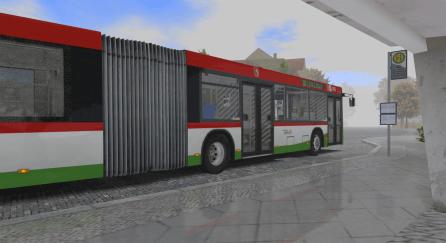Autobus z perspektywy ławki pod wiatą