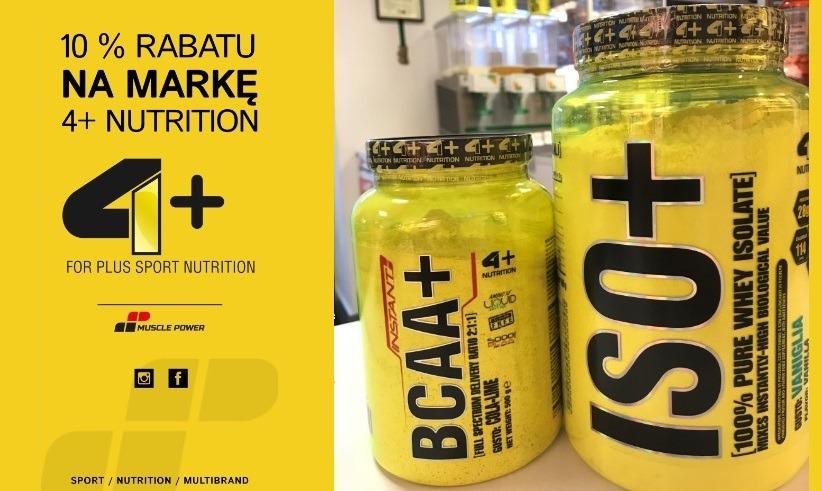Degustacja produktów marki 4+ Nutrition oraz 10% rabatu na całą markę Muscle Power Częstochowa- sklep z odżywkami i zdrową żywnością