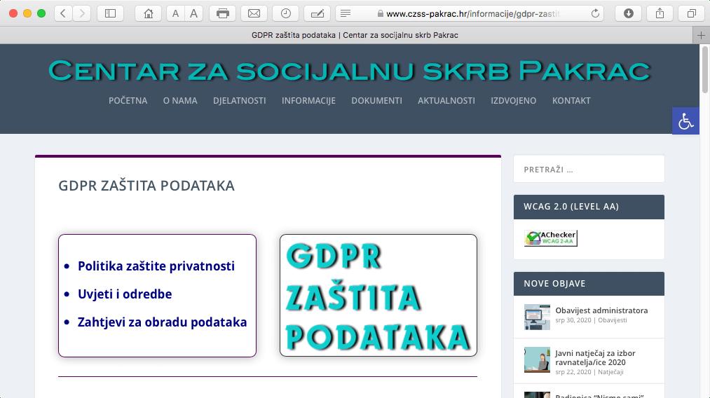 GDPR zaštita podataka na web stranicama Centra za socijalnu skrb Pakrac