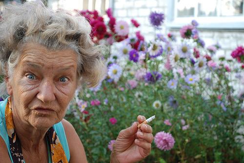 smoking old lady