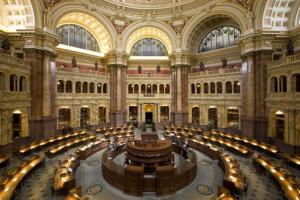 Wnętrze Głównej Czytelni Biblioteki Kongresu USA