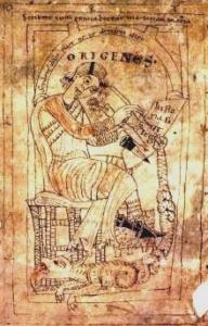 Średniowieczny wizerunek Orygenesa, twórcy biblioteki w Cezarei