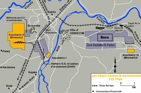 Plan de situation des trois camps d'Auschwitz