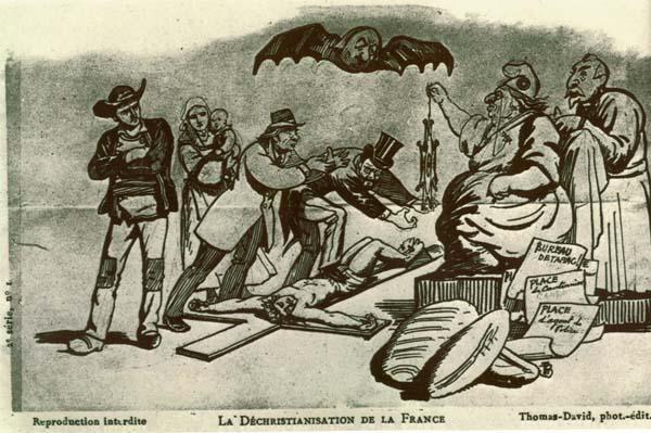 Caricature prise dans un journal : la déchristianisation de la France