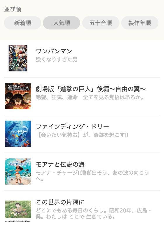 ビデオマーケットのアニメ作品リスト
