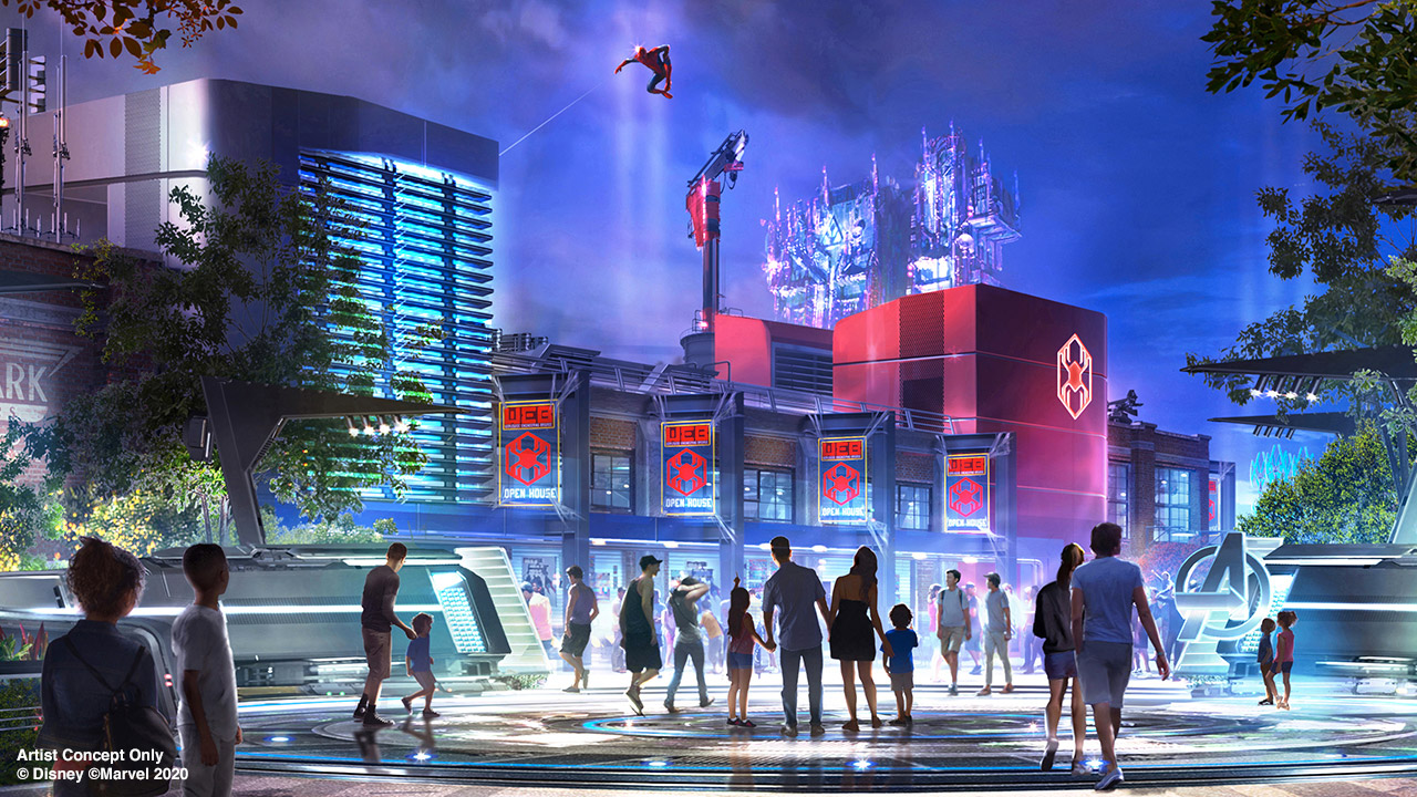 Concept art van het nieuwe Marvel Avengers Campus gebied in Disney California Adventure