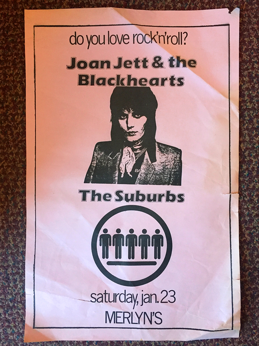 Poster for Joan Jett & the Blackhearts at Merlyn's in Madison Wisconsin January 23, 1982 with the Suburbs