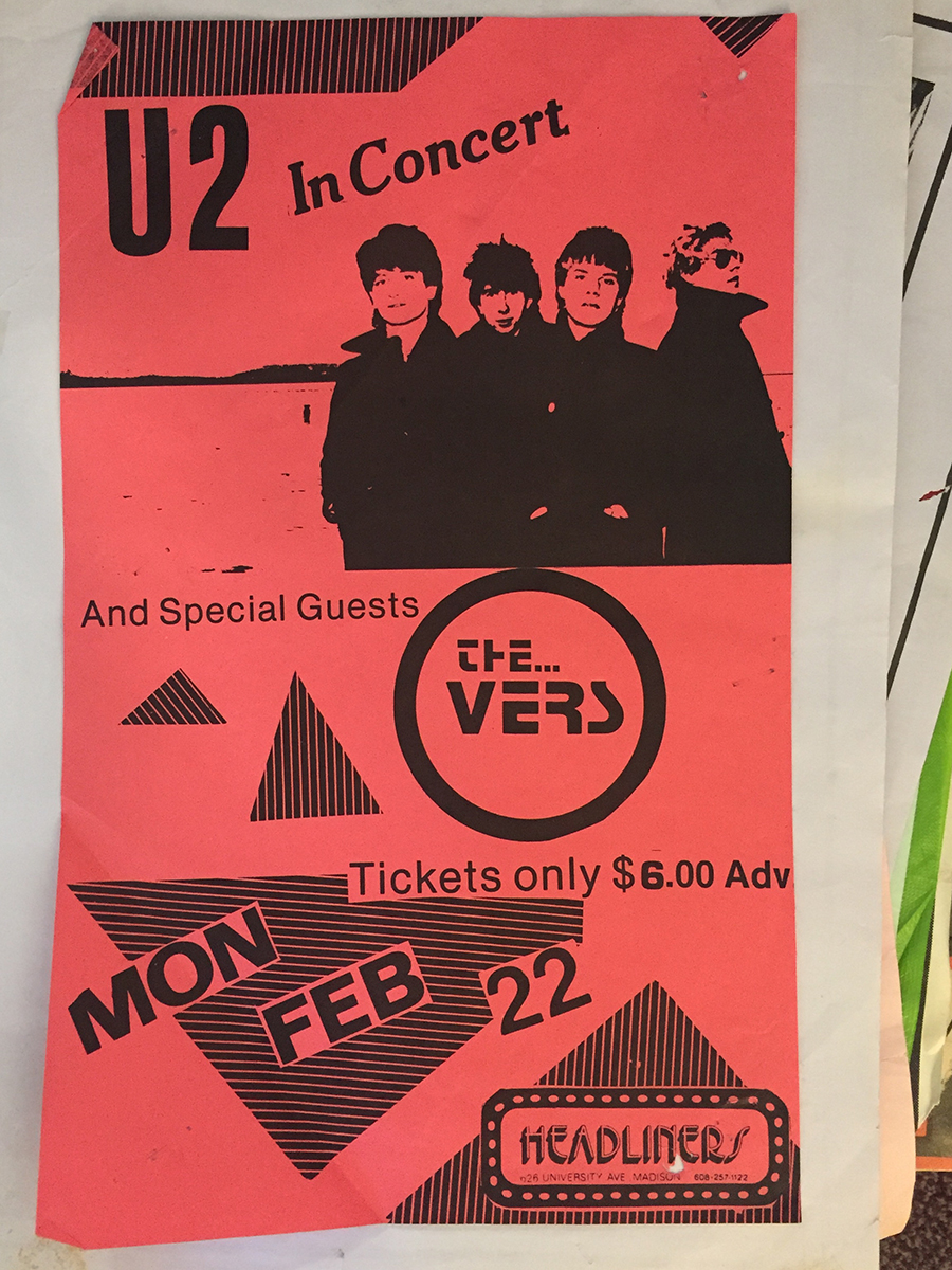 Poster for U2 at Headliners in Madison Wisconsin - February 22, 1982