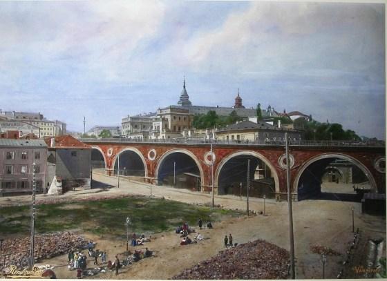 Wjazd na most Kierbedzia (wtedy Aleksandryjski)
