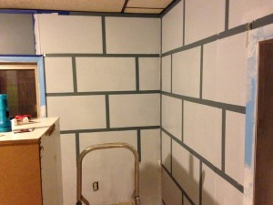 minecraft room taped painted bricks