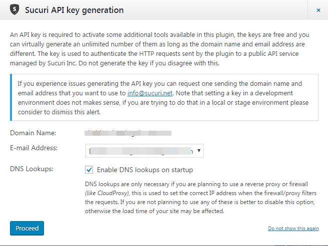 Генерация ключа API в плагине Sucuri Security