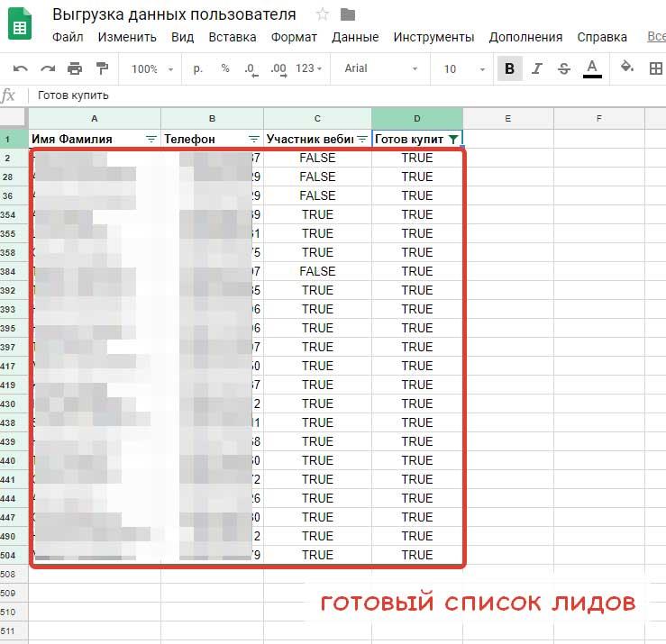 Пример выгрузки данных пользователя из чат-бота