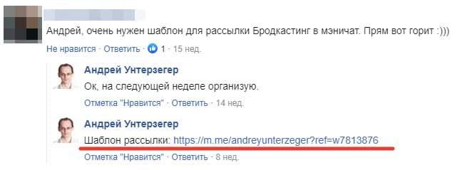 Пример раздачи лид-магнита в комментариях в Фейсбук