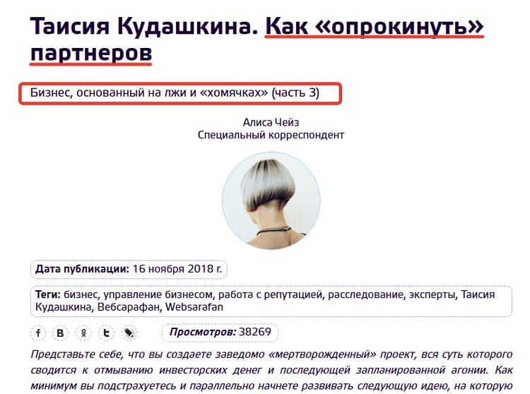 Пример как уничтожают деловую репутацию Кудашкинов в интернет