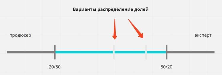 распределение доли дохода от онлайн проекта между продюсером и экспертом
