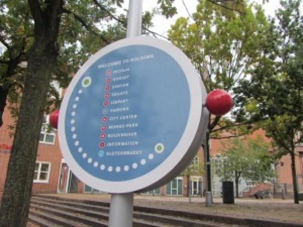 wayfinding i Kolding er nytænkende skiltedesign udført af D-sign Tegnestuen og design tegnestuen ekspert i wayfinding