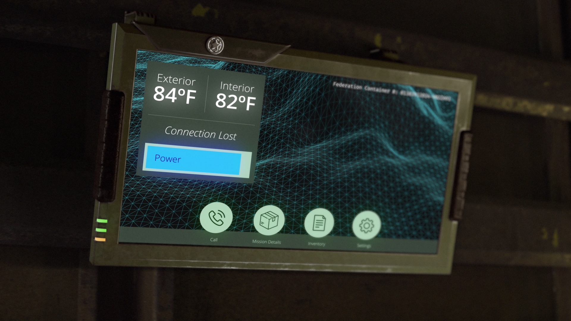 From the sci-fi short film Fringe Territory: Salvage Mission One. The monitor mounted to the wall of Quinton's box.