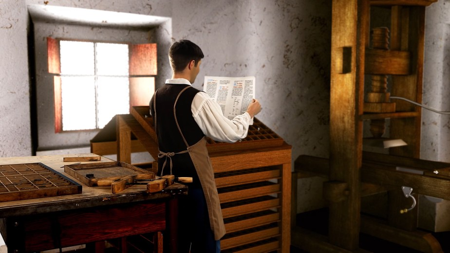 Visual effects composite of a man working the Gutenberg printing press.