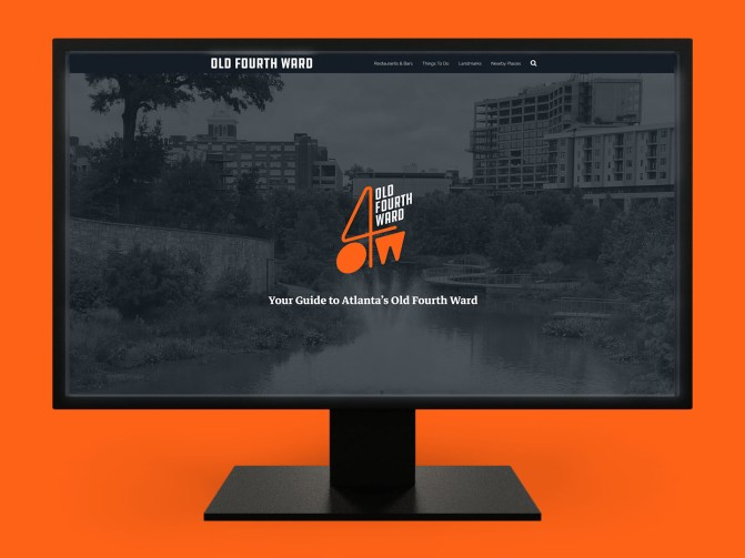 O4W Guide - A tourism guide website for Atlanta's Old Fourth Ward, shown on a desktop monitor. (WordPress Consulting and Hosting)