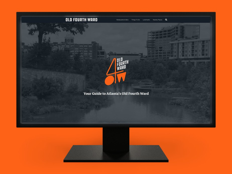 O4W Guide - A tourism guide website for Atlanta's Old Fourth Ward, shown on a desktop monitor. (Web Development)