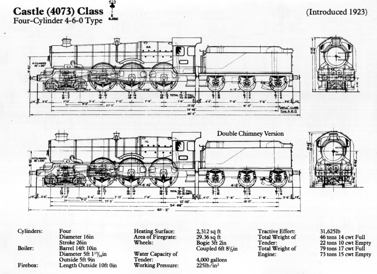 Gwr Castle Class Steam Locomotive Diagram By Sj