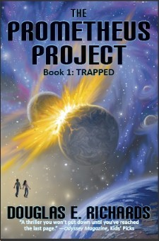 Trapped (The Prometheus Project, #1) cover, for use in the review of Trapped on Sci-Fi & Scary