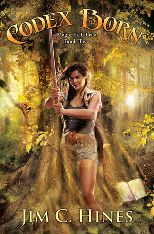 There's a huge tree and in front of it stands a dark-haired woman holding up a kendo stick.