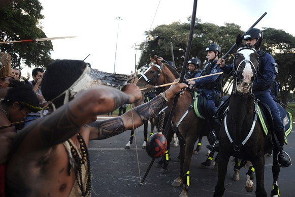 Indigenous Brazilians protesting the creation of a stadium for the Brazilian World Cup in 2014.