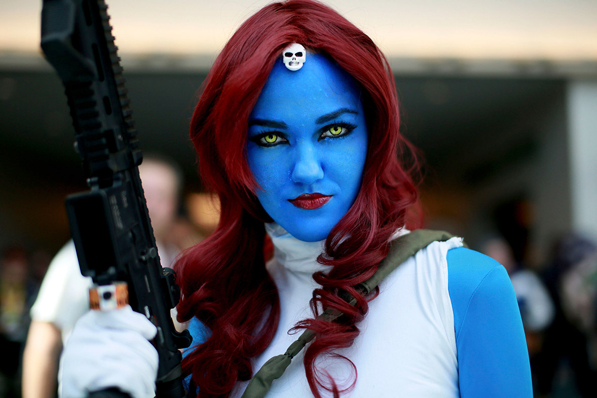 Allie Shaughnessy, dressed as Marvel Comics' character Mystique, attends Comic-Con 2014 in San Diego, California