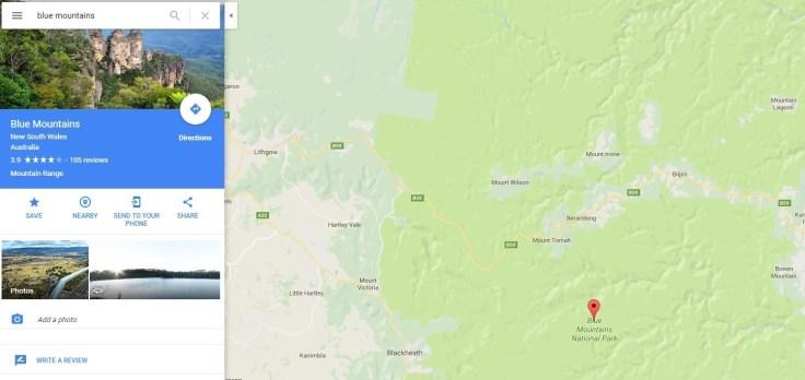 Google Maps glitch Blue Mountains
