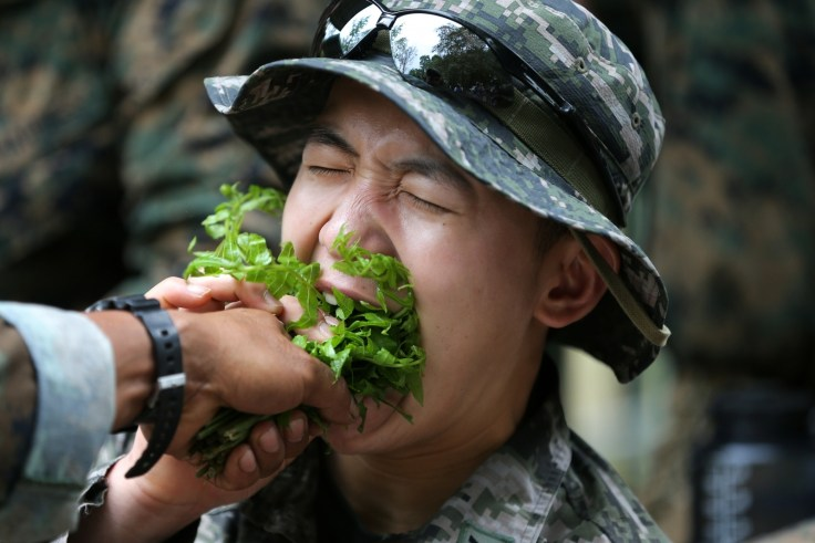 Soldier eats local