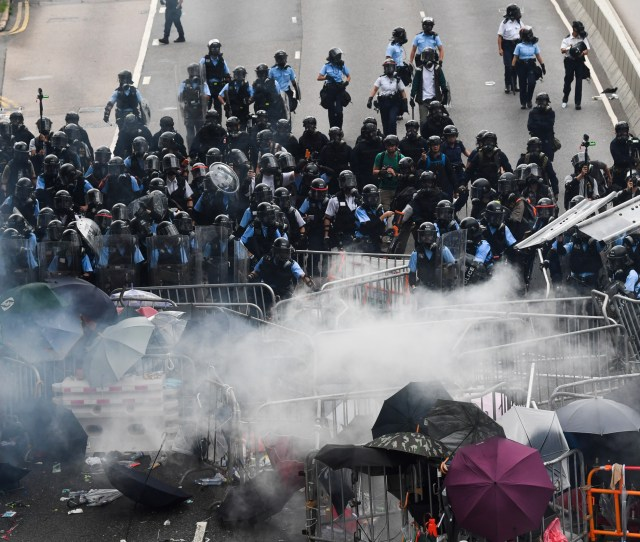 Hong Kong Protests Police Attack Activists With Rubber Bullets Tear Gas And Water Cannons