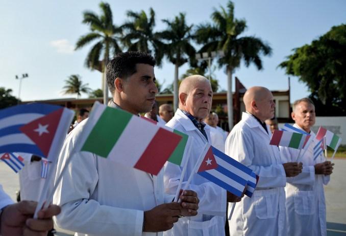 cuba, medical, brigade, italy, flags, coronavirus