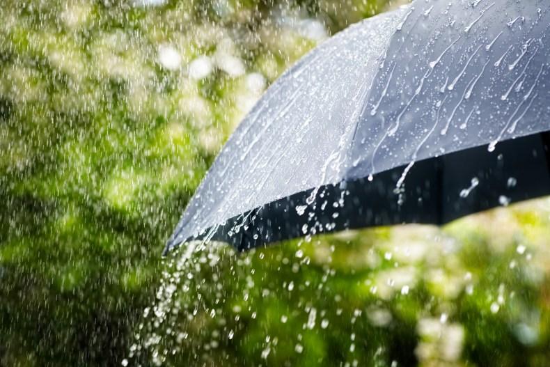 Rain on an umbrella in bad weather