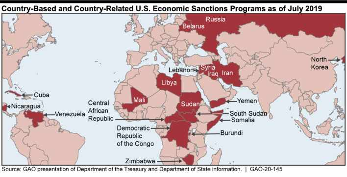 us, sanctions, country, july, 2019, map