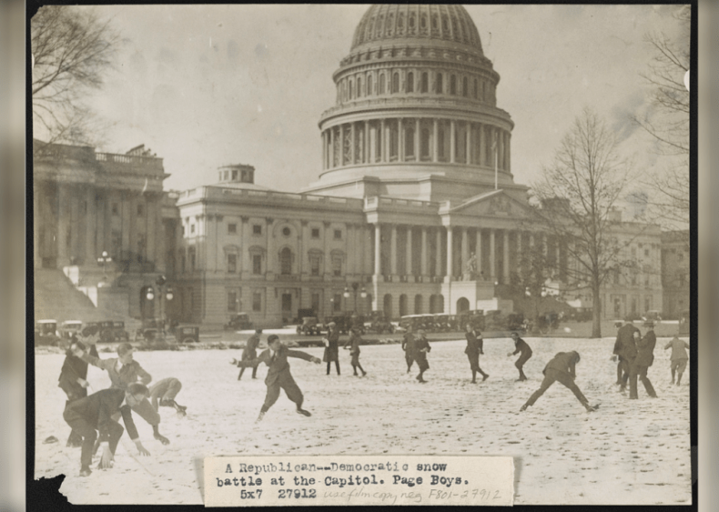 Snow battle at the Capitol