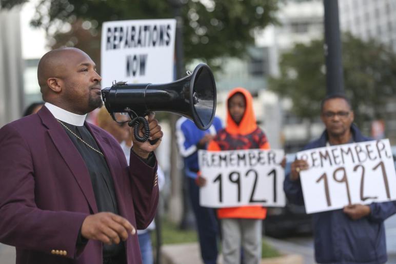 Reverend Robert Turner campaigning in Tulsa