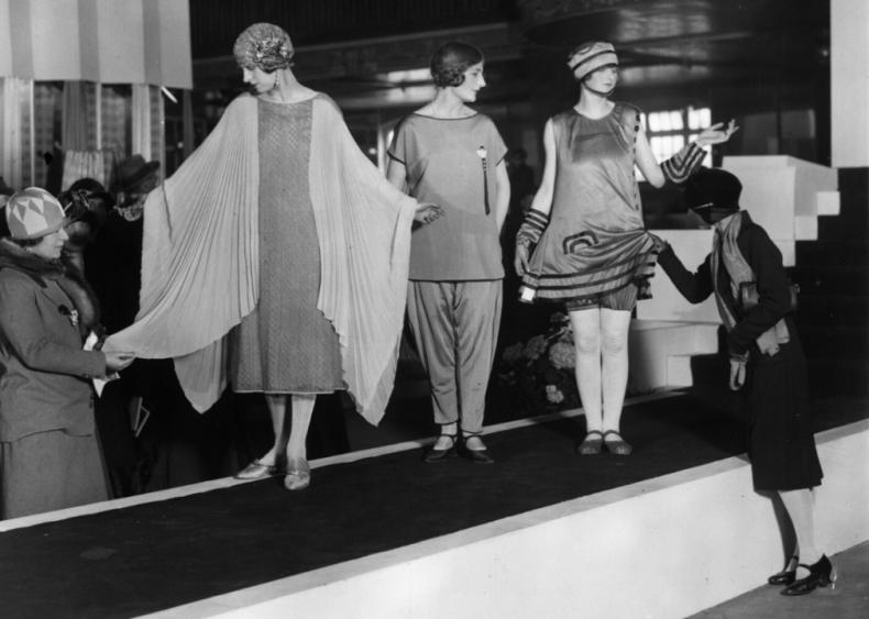 Women sparkle in artificial silk