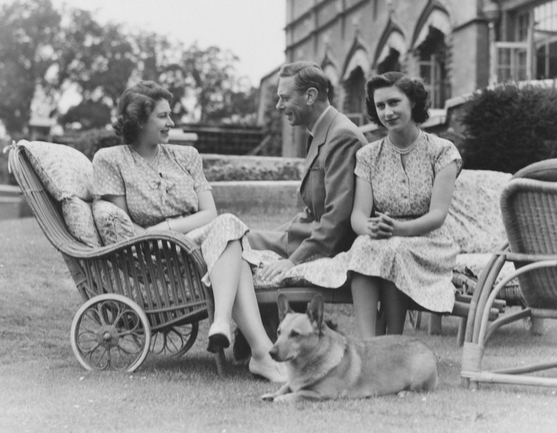 Queen Elizabeth II With Father and Dog