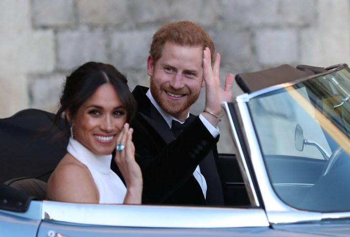 Meghan Markle wearing Princess Diana's Aquamarine Ring