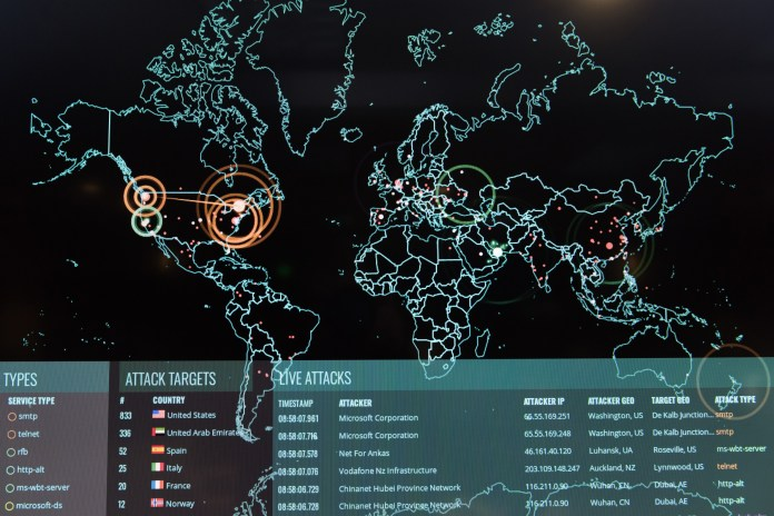 Live, cyber, attack, map, US, military, training