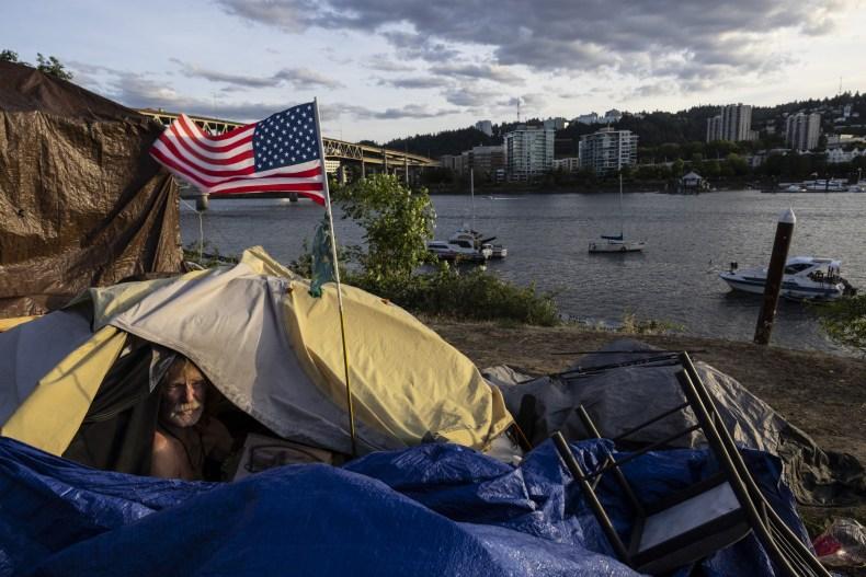 Homeless man in Portland