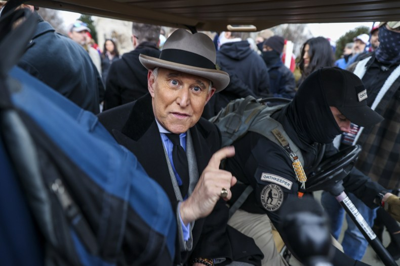 Roger Stone greets supporters after speech