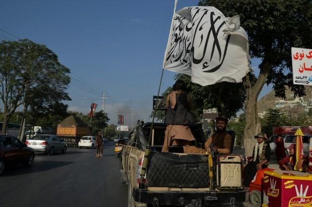 Taliban, flag, truck, Kabul, Afghanistan