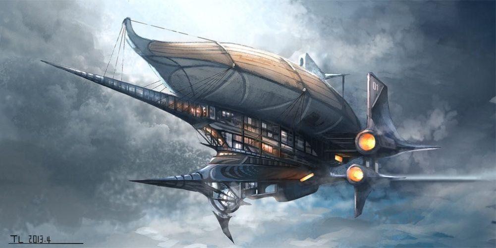 steampunk airship modern