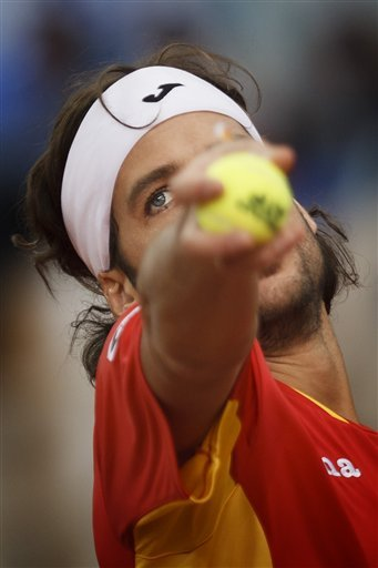 Spain's Feliciano Lopez, Serves